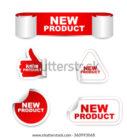 new product, red vector new product, red sticker new product, set stickers new product, element new product, sign new product, design new product, picture new product, illustration new product - stock vector