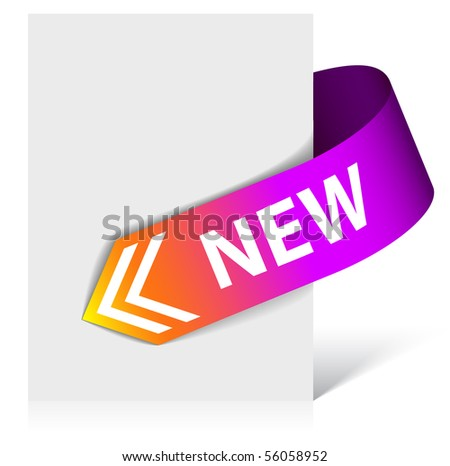 New purple corner ribbon - arrow pointing at the content (vector) - stock vector