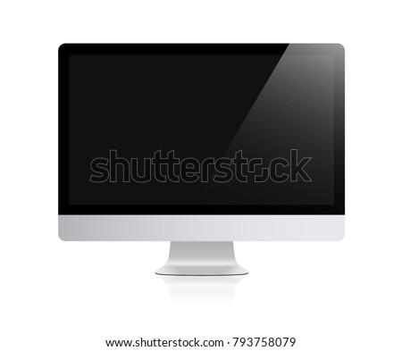 New realistic computer monitor black screen stock vector 793758079 new realistic computer monitor with black screen isolated on white background can use for template pronofoot35fo Gallery