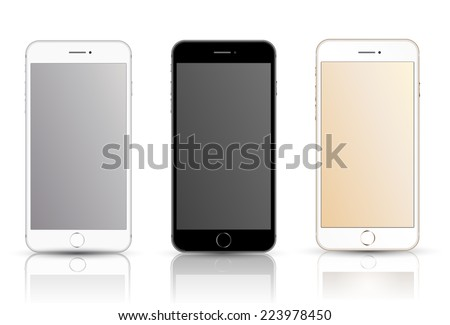 New realistic mobile phone smartphone collection iphon style mockups with blank screen isolated on white background. Vector illustration. for printing and web element, Game and application mockup. - stock vector
