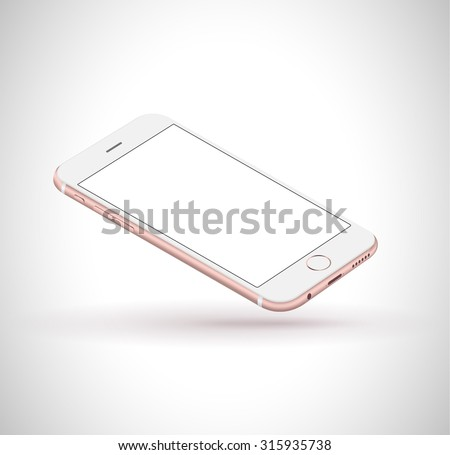New realistic mobile phone smartphone iphon style mockup perspective on white background. Vector illustration. - stock vector
