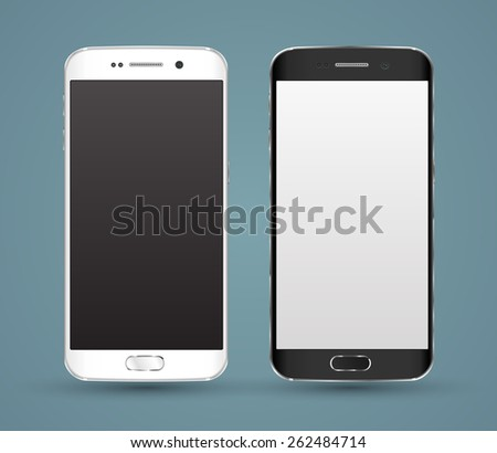 New realistic smartphones  mockups with blank screen isolated. Vector illustration. for printing and web element, Game and application mockup. - stock vector