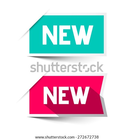 New Red and Blue Vector Paper Labels - Stickers Set Isolated on White - stock vector