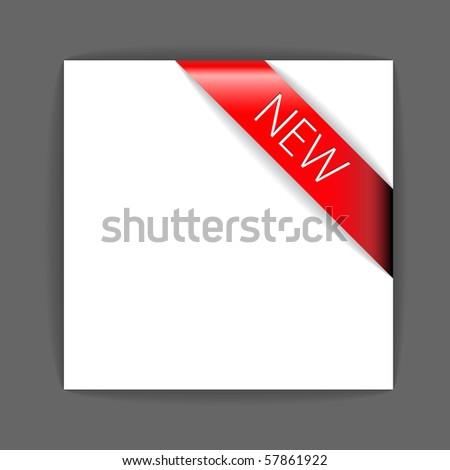 New red corner ribbon inside white paper - stock vector