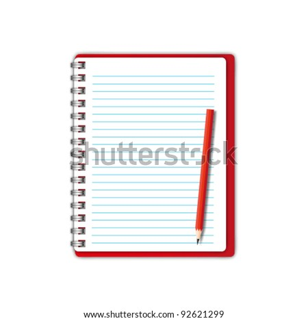 New Red notebook and blank paper with pencil. - stock vector