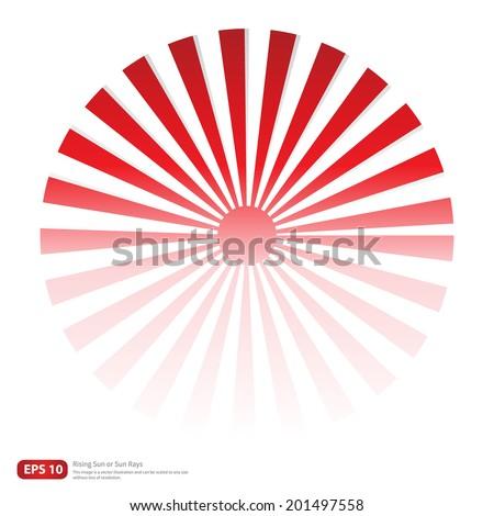 New Red rising sun or sun ray,sun burst vector design - stock vector