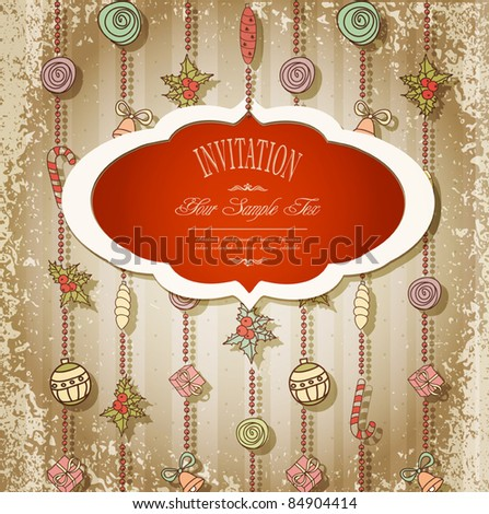 New retro background with Christmas garland and toys - stock vector