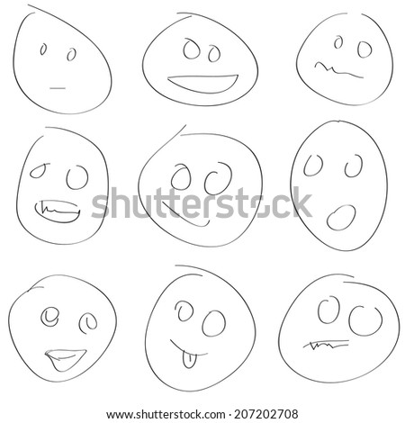 New scetch smile set on a white background. Vector illustration