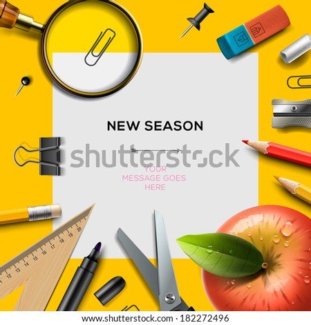 New school season invitation template office stock vector 182272496 new school season invitation template with office supplies back to school background vector illustration stopboris Images