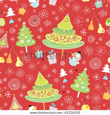New seamless pattern of trees - stock vector