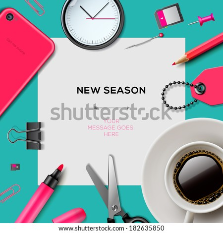 New season invitation template with office supplies for fashion girls, mint color background, pink accessories, vector illustration.  - stock vector