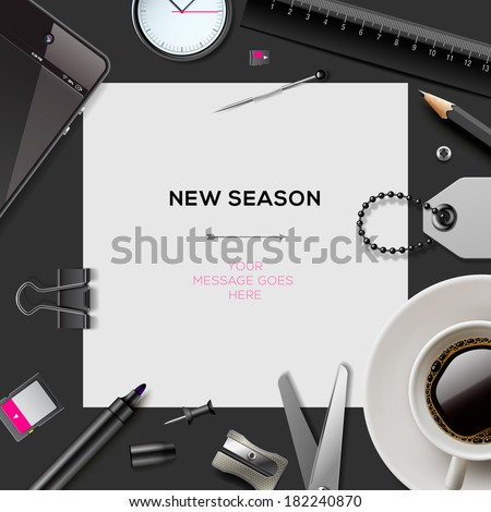 New season invitation template with office supplies, vector illustration.  - stock vector