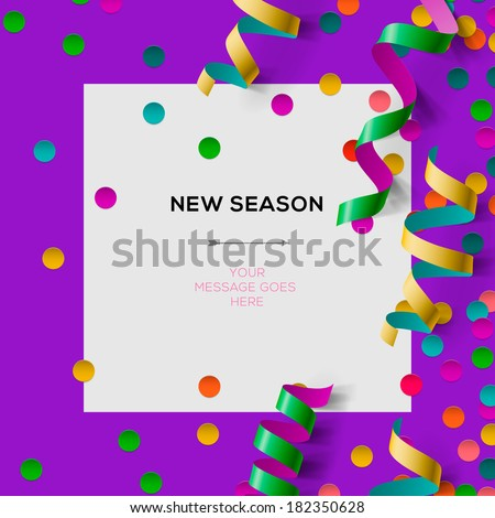 New season invitation template with party confetti, office party, vector illustration.  - stock vector