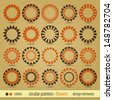 new set of circular pointers flowers and sun inspired icons can use like modern design elements - stock
