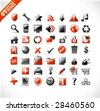 new set of 49 glossy web icons and design elements in red and gray - stock vector