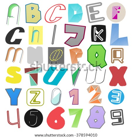 new set of isolated, anonymous style alphabet letters and numbers. vector font type design. criminal language concept icons. secret code lettering - stock vector