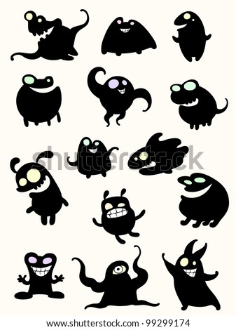 New set of monsters - stock vector