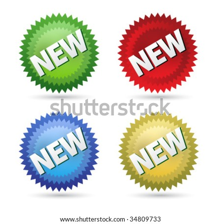 New sign label design green, blue, red, yellow - stock vector