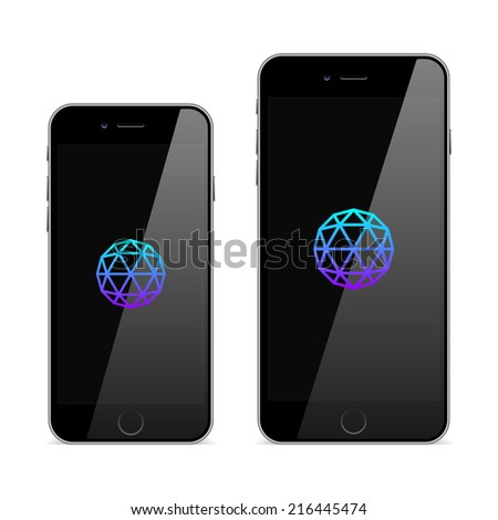 New smart phone. Black smartphone. 4.7 and 5.5 inches. - stock vector