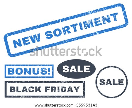 New Sortiment rubber seal stamp watermark with bonus banners for Black Friday sales. Vector smooth blue emblems. Caption inside rectangular shape with grunge design and dirty texture.