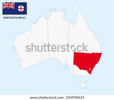new south wales map with flag - stock vector