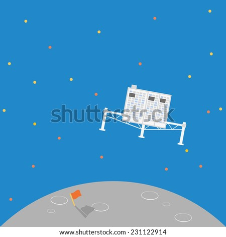 New Space ship landing on the comet.Vector design illustration. - stock vector