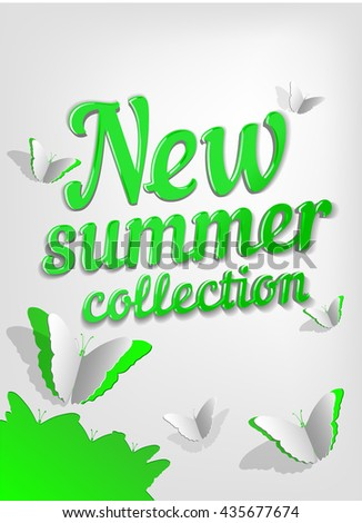 new summer collection label. Vector sale illustration green information shop tag - stock vector