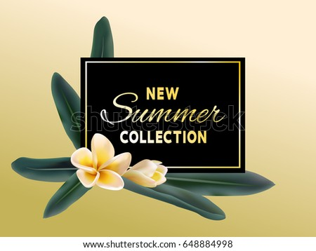 New Summer Collection sale vector poster. Golden text on black fame, jungle leaves and plumeria or frangipani tropical flower illustration. Banner with exotic tropic blossom for new products promotion