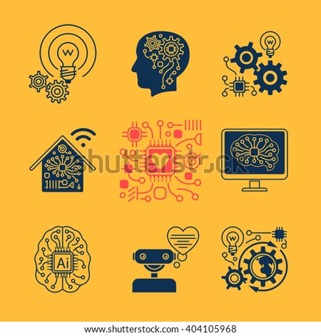 New technologies icons, artificial Intelligence signs and smart innovation symbols. Vector illustration - stock vector