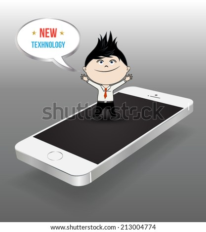 New technology concept with smartphone and business man character. - stock vector
