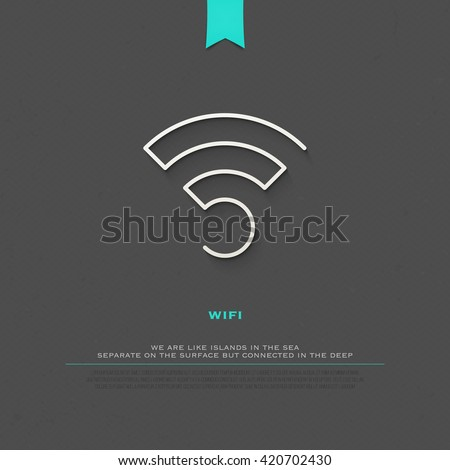 new thin line style wireless icon and wifi logo. isolated vector radio wave symbol. free internet connection zone sign. technology concept logotype and banner template - stock vector