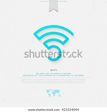new thin line style wireless icon and wifi logo. isolated vector radio wave symbol. free internet connection zone sign. technology concept logotype with world map and banner template - stock vector