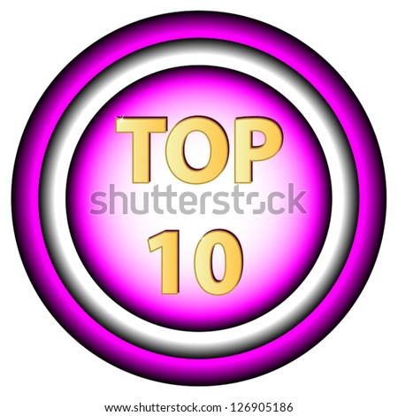 New Top ten symbol on a white background