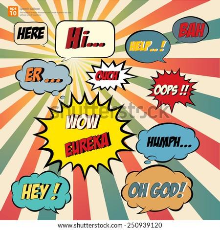 New vector Cartoon speech balloon, Comic Speech Bubble  icon, Vintage and retro style - stock vector