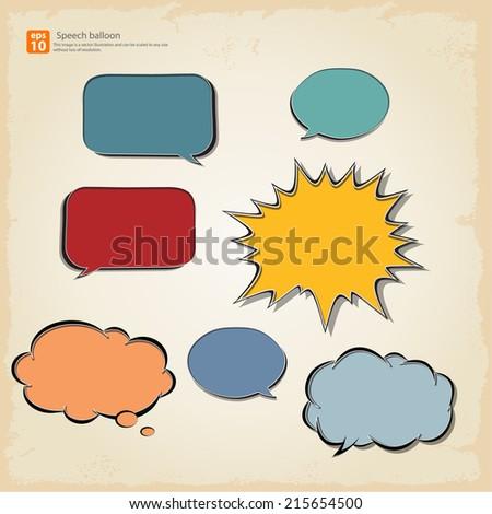 New vector Cartoon speech balloon, Comic Speech Bubble  icon vintage style - stock vector