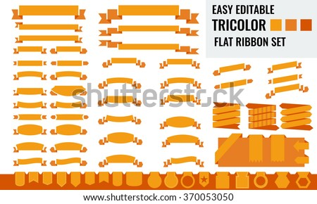 New vector set of tricolor, flat, long and short ribbon banner, price tag collection. Orange color - stock vector
