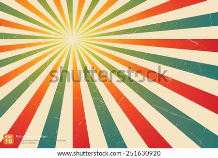 New vector Vintage colorful rising sun or sun ray,sun burst retro background design - stock vector