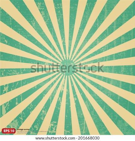 New vector Vintage green rising sun or sun ray,sun burst retro background design - stock vector