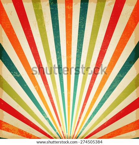 New vector Vintage Multicolor rising sun or sun ray,sun burst retro background design - stock vector