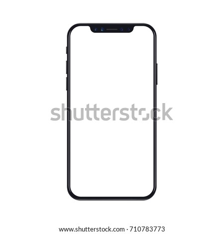 New version of black slim smartphone similar to iphon x with blank white screen. Realistic vector illustration.