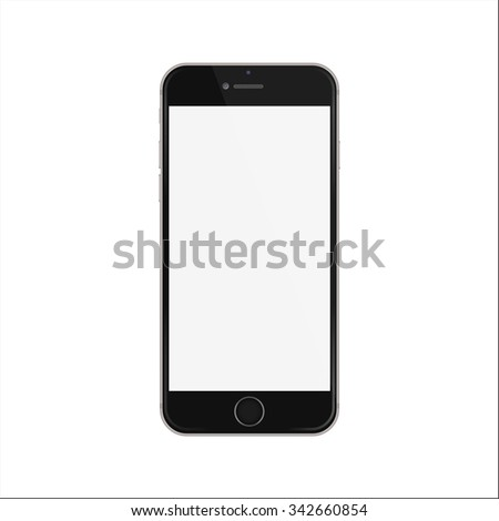 New version of black slim smartphone similar to iphone with blank white screen. - stock vector