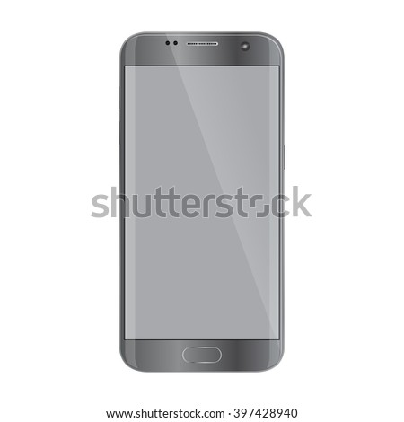 New version of modern smartphone with blank screen, isolated on white.