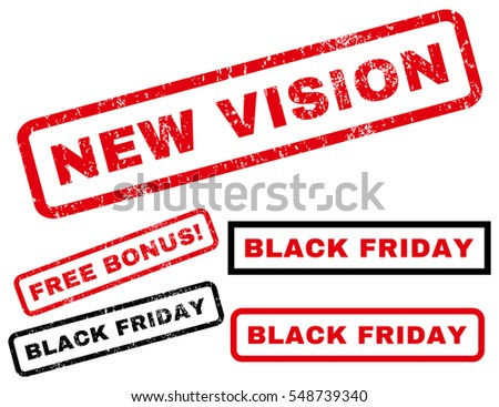 New Vision rubber seal stamp watermark with additional design elements for Black Friday offers. Vector red and black signs. Caption inside rectangular banner with grunge design and scratched texture.