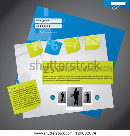New website template design with notepapers attached to background - stock vector