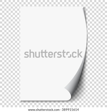 New white page curl on blank sheet isolated paper. Realistic empty folded page. Transparent design sticker. Vector background graphic illustration eps10 - stock vector