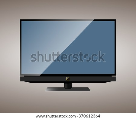 New wide-screen TV set in elegant glass design isolated. Vector illustration.