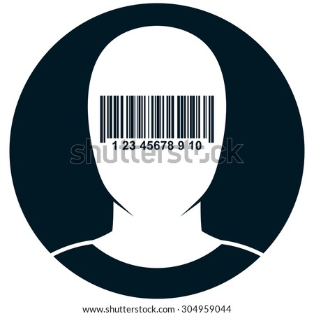 New world order. Blinded dazzled by globalization. Blind-folded man. Human face in barcode blindfold vector illustration - stock vector