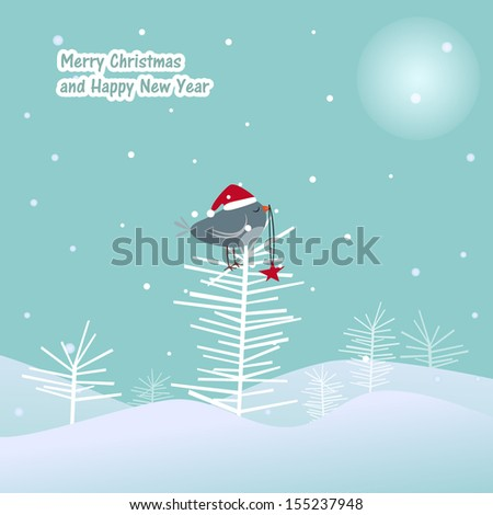 New year a fur-tree of a bird a red star - stock vector
