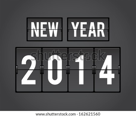 New Year 2014 analog countdown counter board - stock vector