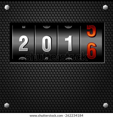 New Year 2016 Analog Counter detailed vector - stock vector